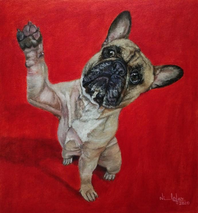 Puppy Digital Print by Nilofar Ansari,Expressionism