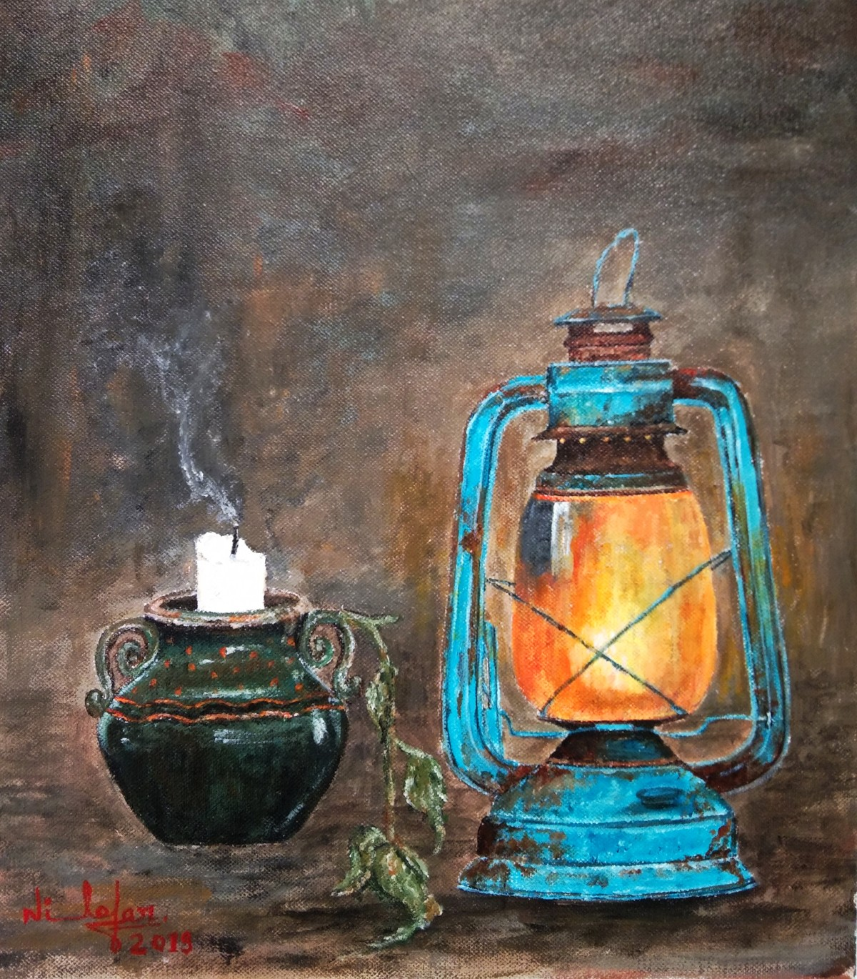 Still Life Painting by Nilofar Ansari, Expressionism Painting, Acrylic on Canvas, Pine Cone color