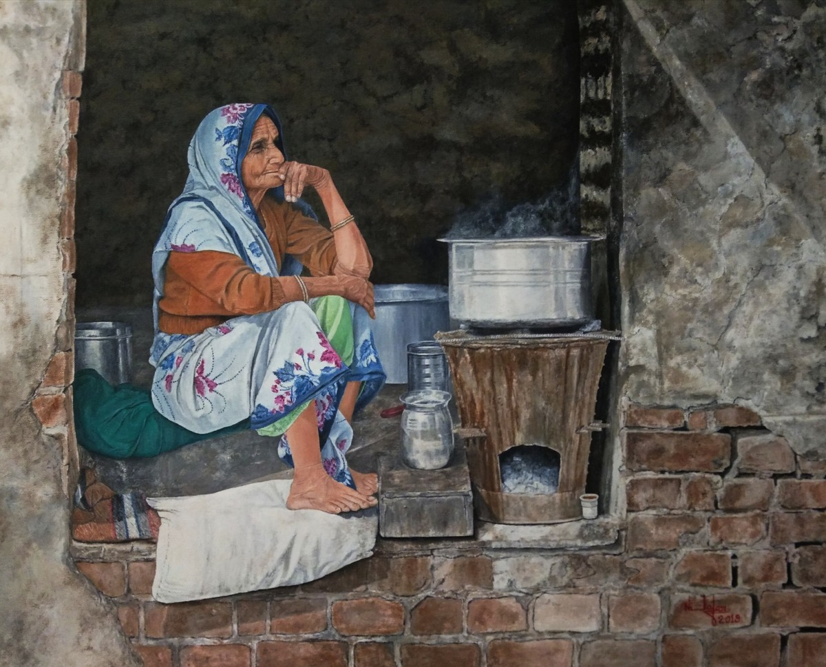 Tea Stall by Nilofar Ansari, Impressionism Painting, Oil on Canvas, Merlin color