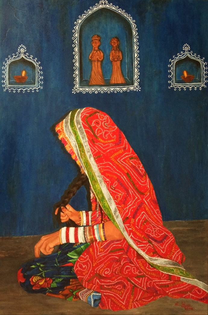 Indian Bride by Nilofar Ansari, Expressionism Painting, Acrylic on Canvas, Flame Pea color