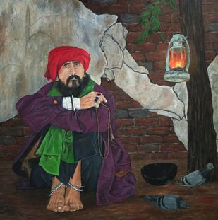 Fakir by Nilofar Ansari, Expressionism Painting, Oil on Canvas, Merlin color
