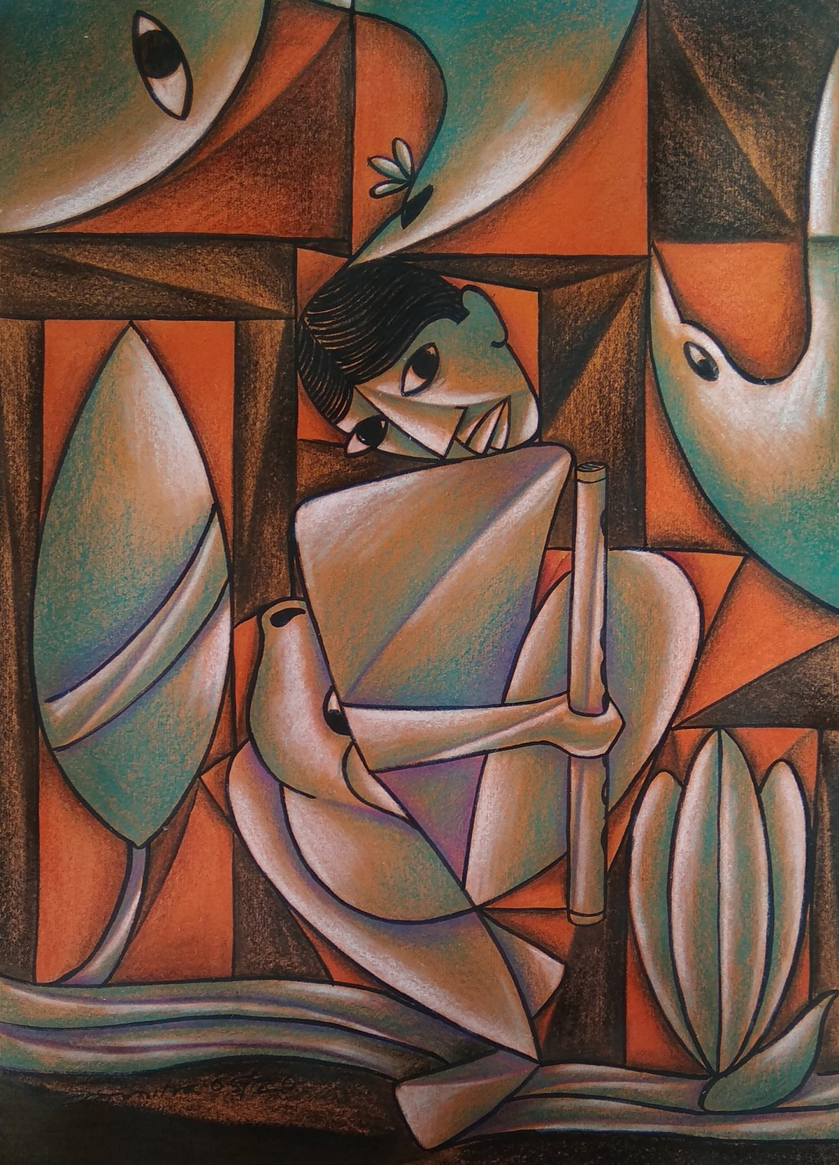 Divine Lover by Soumitra Dutta, Expressionism Painting, Mixed Media on Board, Tobacco Brown color