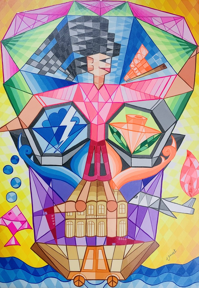 Free Girl by Vineet Parkar, Cubism Painting, Watercolor on Paper, Bdazzled Blue color