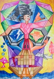 Free Girl Digital Print by Vineet Parkar,Cubism