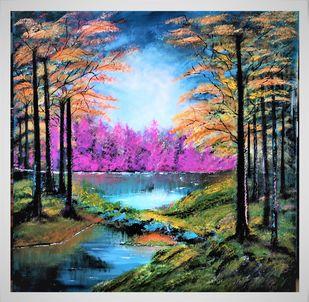 Nature's Reflection by Sujata Joshi, Fantasy Painting, Acrylic on Canvas, Nandor color