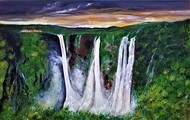 Jog Falls at Sunset by Sujata Joshi, Expressionism Painting, Acrylic on Canvas, Lunar Green color