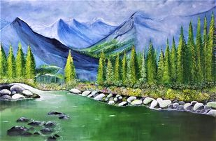 Mountain Stream by Sujata Joshi, Expressionism Painting, Acrylic on Canvas, Axolotl color