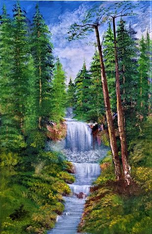 Forest Stream by Sujata Joshi, Expressionism Painting, Acrylic on Canvas, Cabbage Pont color