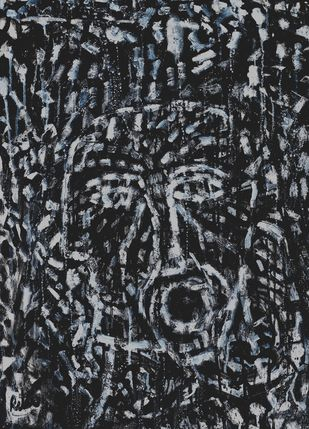 A silent scream by Ritu Dhillon, Abstract Painting, Mixed Media on Paper, Gray Chateau color