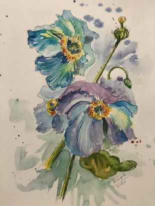 Poppies I by Simple Mohanty, Impressionism Painting, Watercolor & Ink on Paper, Bison Hide color