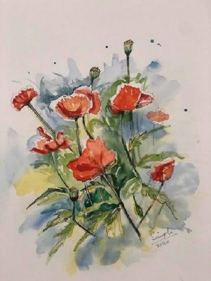 Poppies Il by Simple Mohanty, Impressionism Painting, Watercolor & Ink on Paper, Silver Rust color