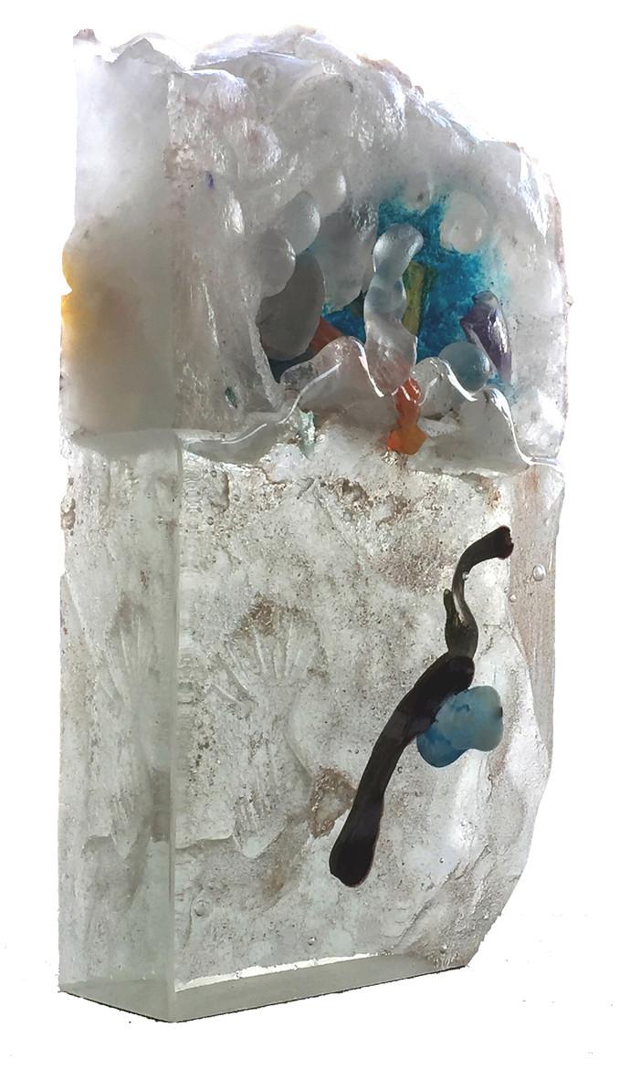 Old Seeds four by Sisir Sahana, Art Deco Sculpture | 3D, Mixed Media on Glass, Delta color