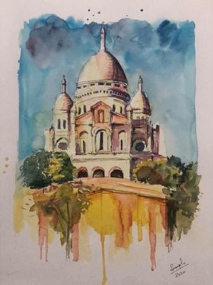 Montemartre Church by Simple Mohanty, Impressionism Painting, Watercolor & Ink on Paper, Silk color