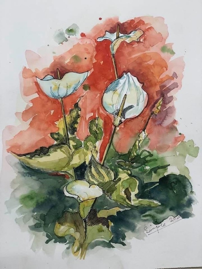 Blooms of Solace by Simple Mohanty, Impressionism Painting, Watercolor & Ink on Paper, Lunar Green color