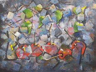 HIDDEN by Aparna Bhatnagar, Abstract Painting, Acrylic on Canvas, Sonic Silver color