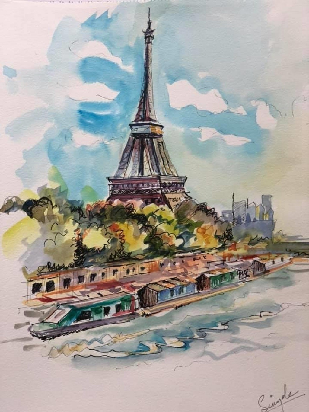 Eiffel by the Seine by Simple Mohanty, Impressionism Painting, Watercolor & Ink on Paper, Cloud color