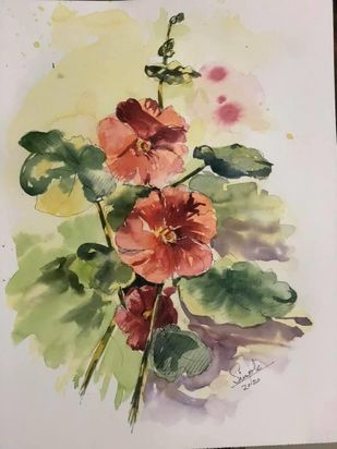Hollyhocks by Simple Mohanty, Impressionism Painting, Watercolor & Ink on Paper, Sisal color