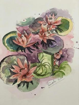 Blooms of harmony by Simple Mohanty, Impressionism Painting, Watercolor & Ink on Paper, Swirl color