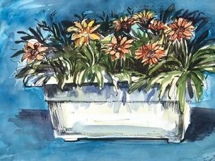 Blooms of Cheer by Simple Mohanty, Impressionism Painting, Acrylic on Canvas, Hippie Blue color