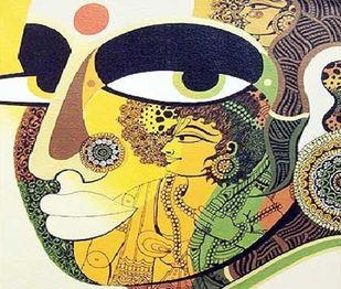 Urmila by Bolgum Nagesh Goud, Expressionism Painting, Acrylic & Ink on Canvas, Laser color