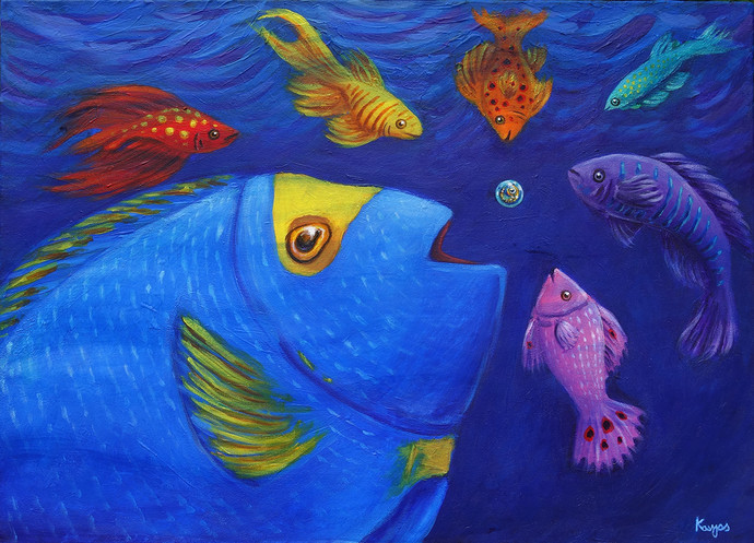 Curiousity by Kavya vyas , Fantasy Painting, Acrylic on Canvas, Jacksons Purple color