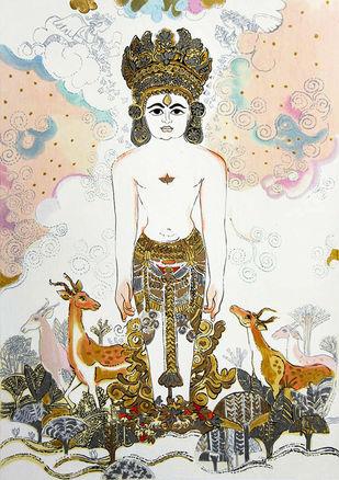 Shantinath Bhagwan by Ravindra Salve, Expressionism Serigraph, Serigraph on Paper, Mondo color