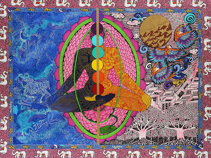 Bhagwat Gita, Chapter 6, Verse 18 by Seema Kohli, Expressionism Serigraph, Serigraph on Paper, Petite Orchid color