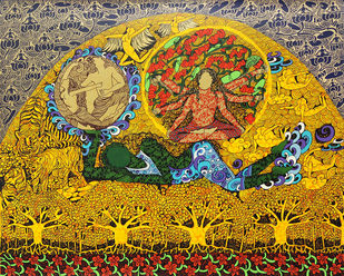 The Golden Womb by Seema Kohli, Expressionism Serigraph, Serigraph on Paper, Dune color