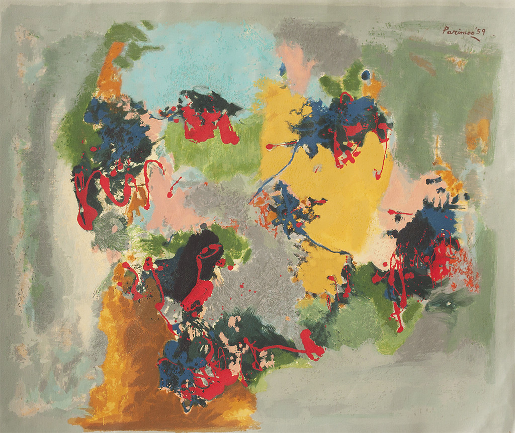The Conductor by Ratan Parimoo, Abstract Serigraph, Serigraph on Paper, Hillary color