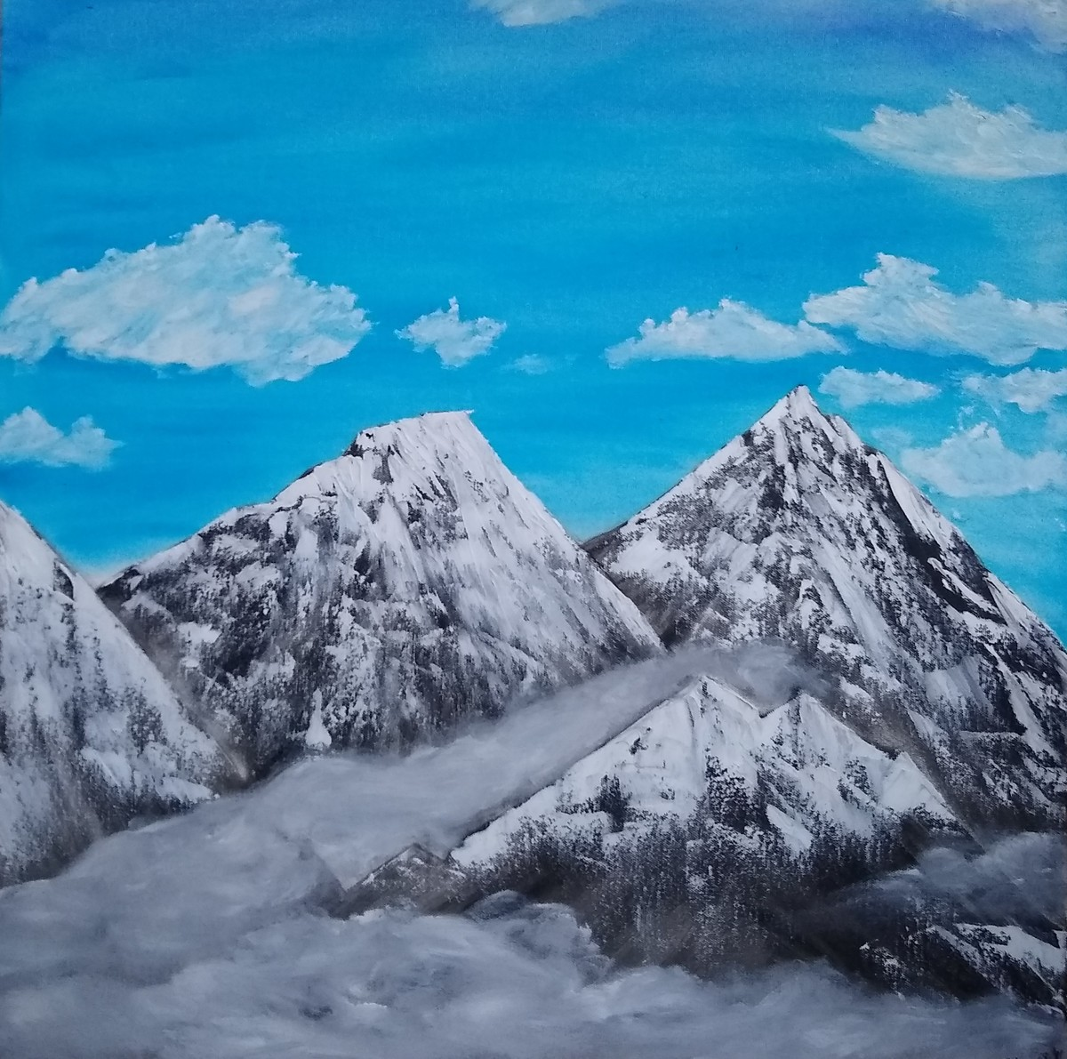Mountains in blue sky by Jahnavi KJ, Impressionism Painting, Oil on Canvas, Boston Blue color