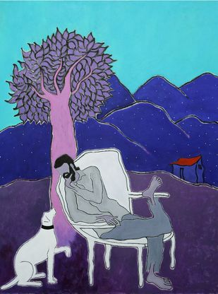 sharing memory by K.yuvaraj, Expressionism Painting, Acrylic on Canvas, Rhino color