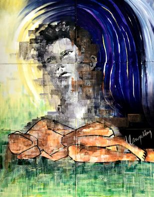 Invisible by Umapathy, Expressionism Painting, Acrylic on Canvas, Big Stone color