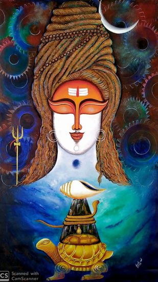 HARA by SUSMITA MANDAL, Decorative Painting, Acrylic on Canvas, Antique Brass color
