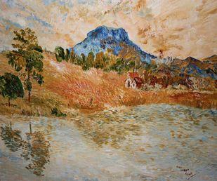 Mountain by Binu K V, Impressionism Painting, Acrylic on Canvas, Sandrift color