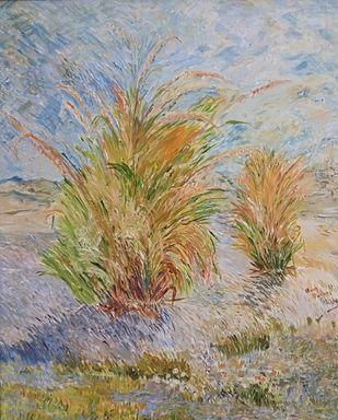 Grass by Binu K V, Impressionism Painting, Acrylic on Canvas, Zorba color