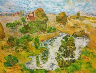 Pond by Binu K V, Impressionism Painting, Acrylic on Canvas, Sycamore color
