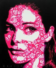 The lady by Sujit Karmakar, Pop Art Painting, Acrylic on Canvas, Razzmatazz color
