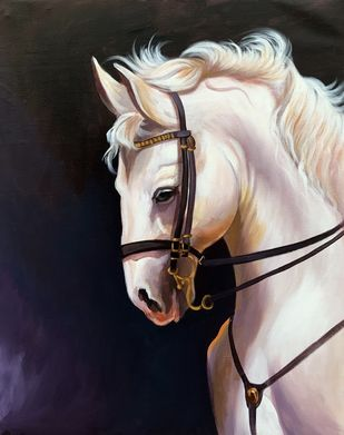Eritrea horse by Mk goyal, Realism Painting, Acrylic on Canvas, Swirl color