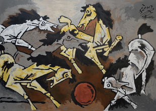 Horse by M F Husain, Expressionism Serigraph, Serigraph on Paper, Merlin color