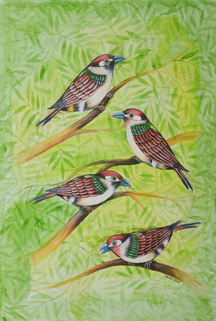 Birds 415 by santosh patil, Expressionism Painting, Watercolor on Paper, Olivine color