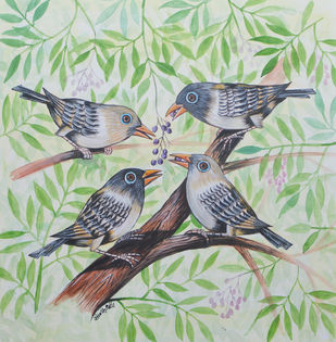 Birds 413 by santosh patil, Expressionism Painting, Watercolor on Paper, Green Spring color