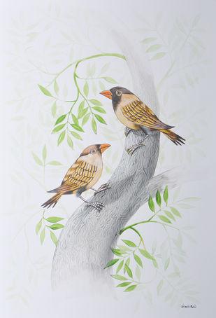 Birds 282 by santosh patil, Decorative Painting, Watercolor on Paper, Iron color