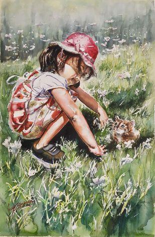 Little friends Digital Print by Lasya Upadhyaya,Impressionism