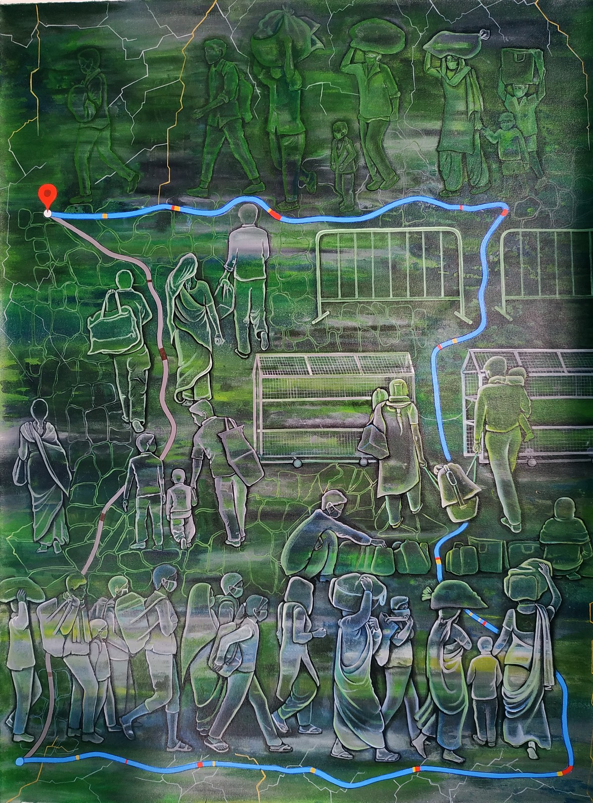 Migrant Workers by Baishakhi Mehatori, Conceptual Painting, Acrylic on Canvas, Gray Asparagus color
