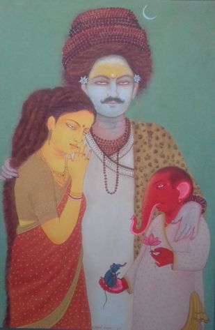 Family photo of Genesha by partha mondal, Expressionism Painting, Tempera on Paper, Friar Gray color