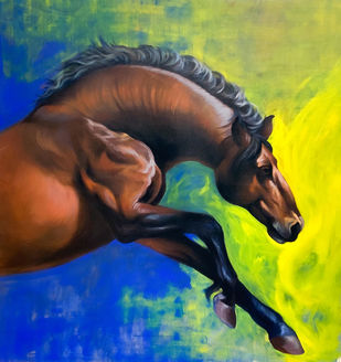 Jumping horse by Mk goyal, Photorealism Painting, Acrylic on Canvas, Old Gold color