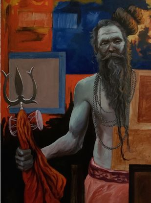 Sadhu by Mk goyal, Expressionism Painting, Mixed Media on Canvas, Cocoa Brown color