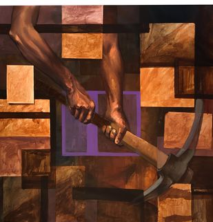 Memory 1 by Mk goyal, Conceptual Painting, Mixed Media on Canvas, Cork color