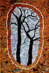 Wall and The Black Trees by SUDESHNA MITRA BATTIG, Abstract Painting, Acrylic on Paper, Burnt Umber color