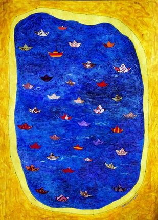 FREEDOM IN A CAPTIVATED WORLD by SUDESHNA MITRA BATTIG, Conceptual Painting, Acrylic on Paper, Sunflower color